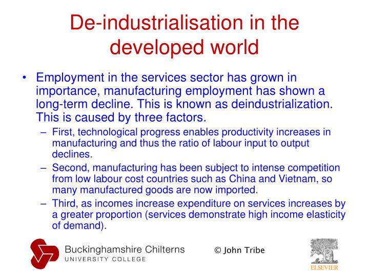 De-industrialisation in the developed world