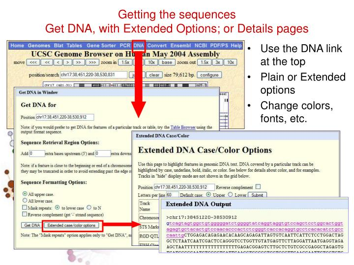 Getting the sequences