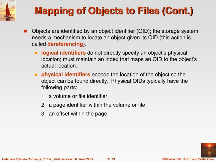 Mapping of Objects to Files (Cont.)