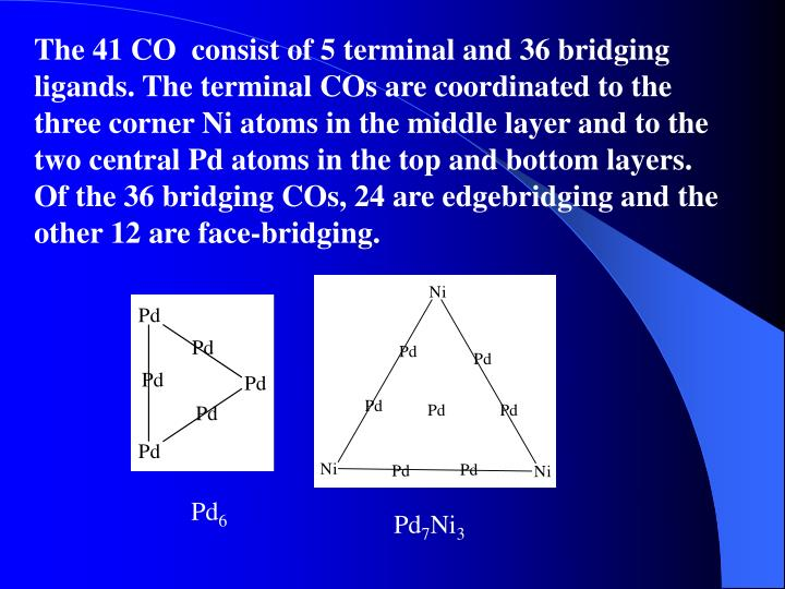 The 41 CO  consist of 5 terminal and 36 bridging ligands. The terminal COs are coordinated to the three corner Ni atoms in the middle layer and to the two central Pd atoms in the top and bottom layers. Of the 36 bridging COs, 24 are edgebridging and the other 12 are face-bridging.