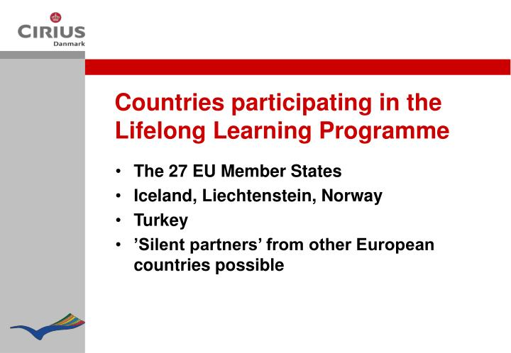 Countries participating in the Lifelong Learning Programme