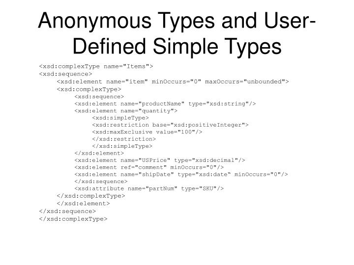 Anonymous Types and User-Defined Simple Types