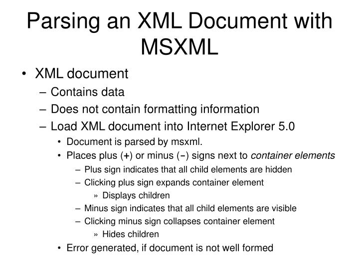 Parsing an XML Document with MSXML