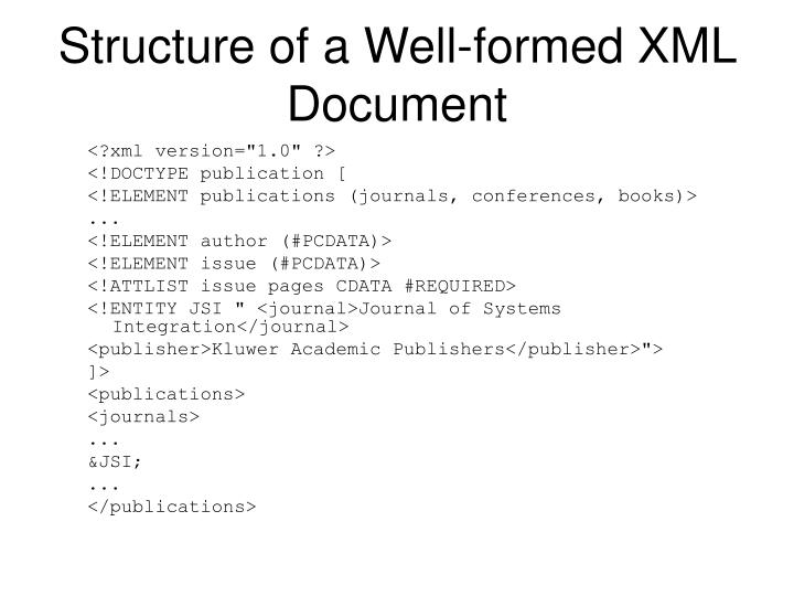 Structure of a Well-formed XML Document