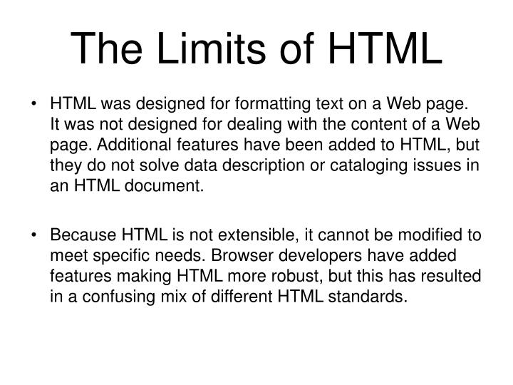 The Limits of HTML
