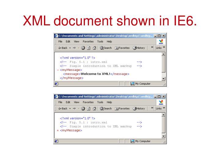 XML document shown in IE6.