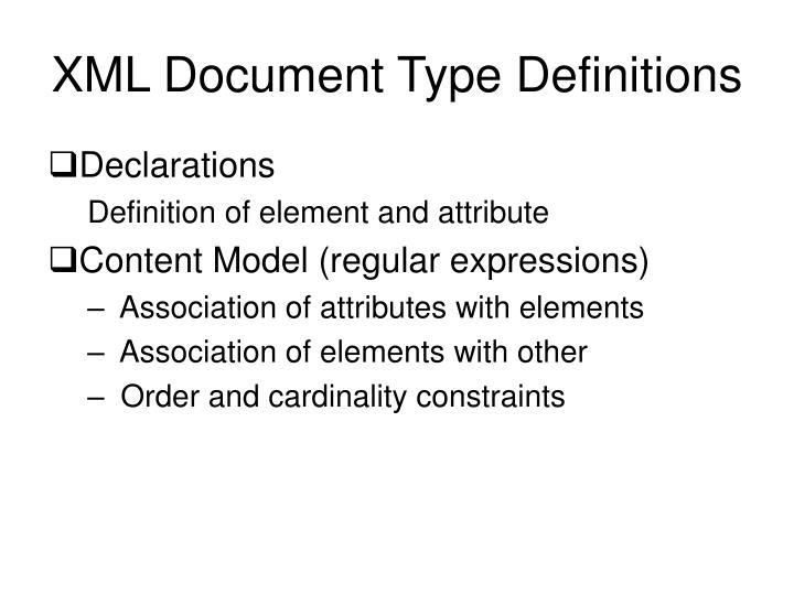 XML Document Type Definitions