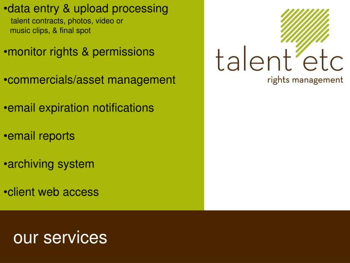 data entry & upload processing