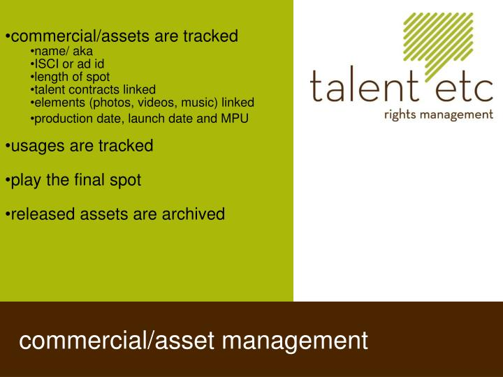 commercial/assets are tracked