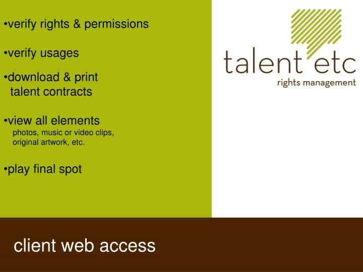 verify rights & permissions