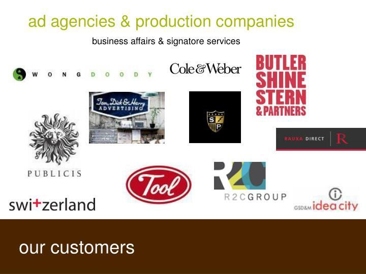 ad agencies & production companies