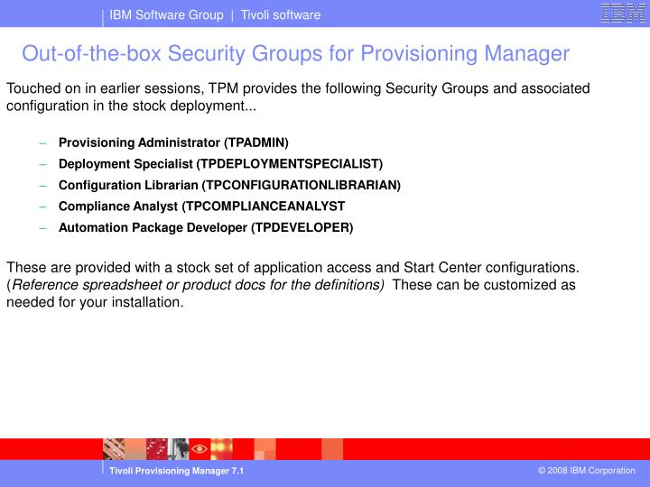 Out-of-the-box Security Groups for Provisioning Manager