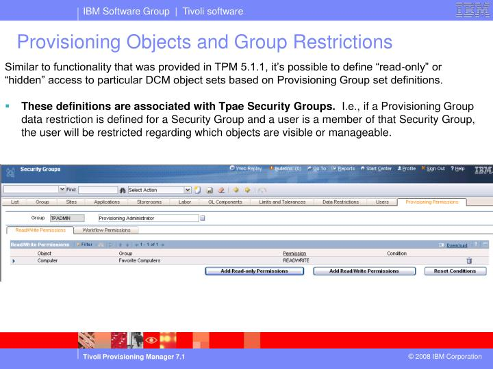 Provisioning Objects and Group Restrictions