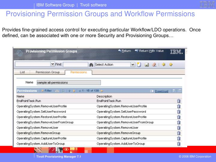 Provides fine-grained access control for executing particular Workflow/LDO operations.  Once