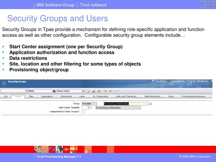 Security groups and users