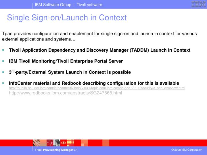 Single Sign-on/Launch in Context