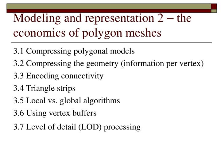 Modeling and representation 2 the economics of polygon meshes