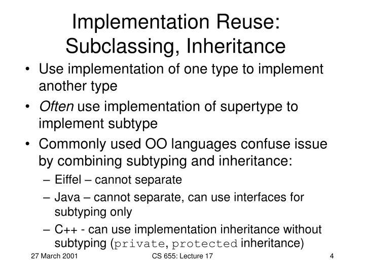 Implementation Reuse: