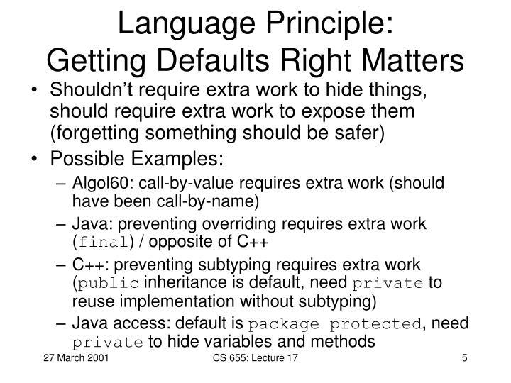 Language Principle: