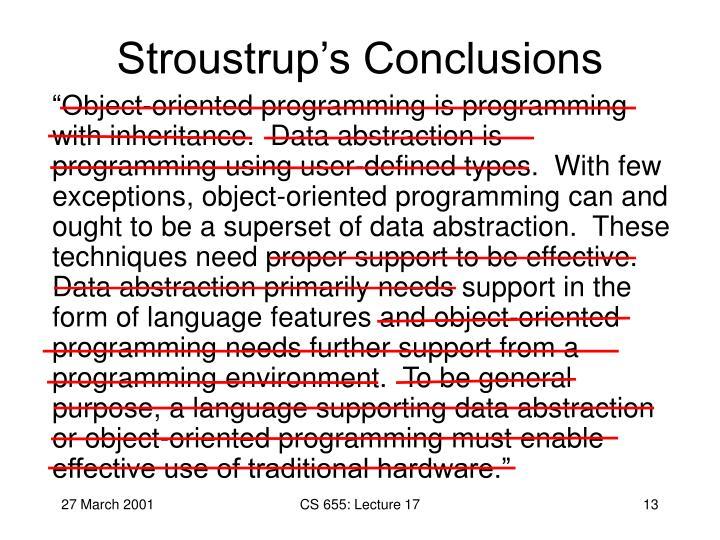 Stroustrup's Conclusions