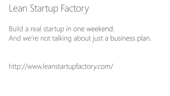 Lean Startup Factory