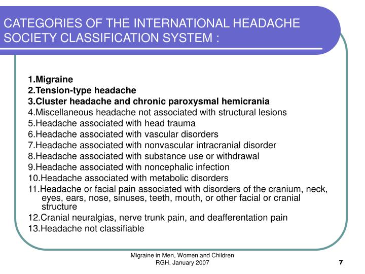 CATEGORIES OF THE INTERNATIONAL HEADACHE SOCIETY CLASSIFICATION SYSTEM :