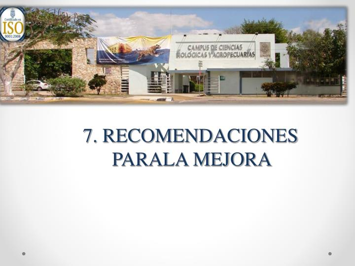 7. RECOMENDACIONES PARALA MEJORA