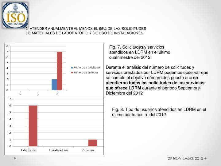 2- ATENDER ANUALMENTE AL MENOS EL 95% DE LAS SOLICITUDES DE MATERIALES DE LABORATORIO Y DE USO DE INSTALACIONES.
