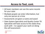 access to tool cont