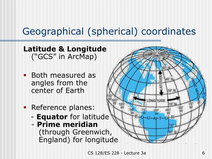 Geographical (spherical) coordinates