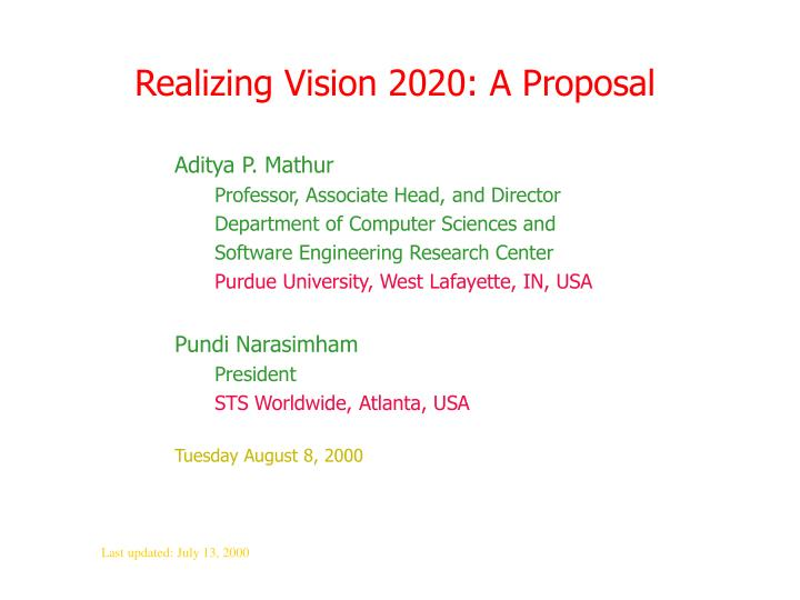 realizing vision 2020 a proposal n.