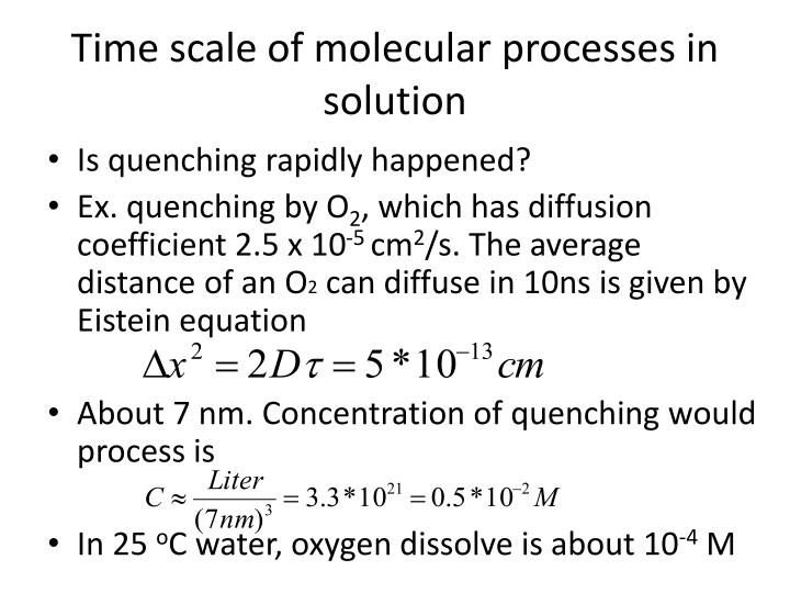 Time scale of molecular processes in solution