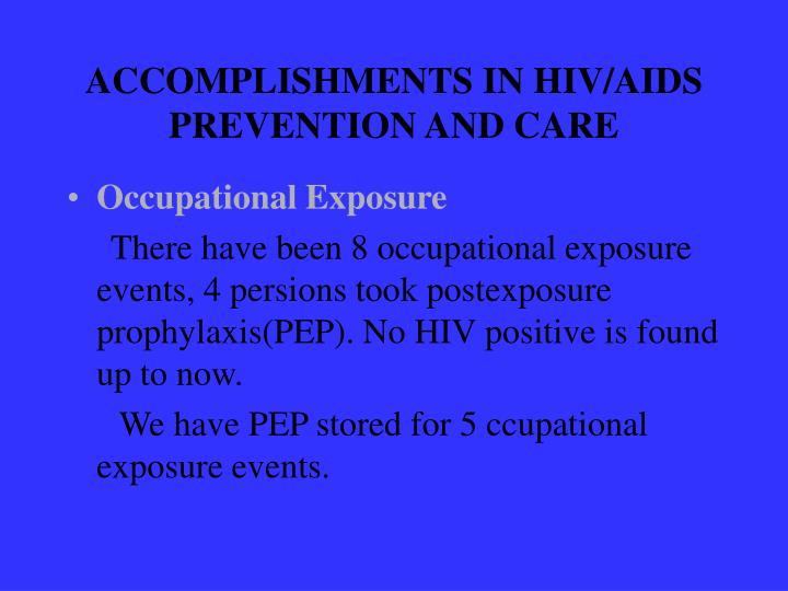 ACCOMPLISHMENTS IN HIV/AIDS