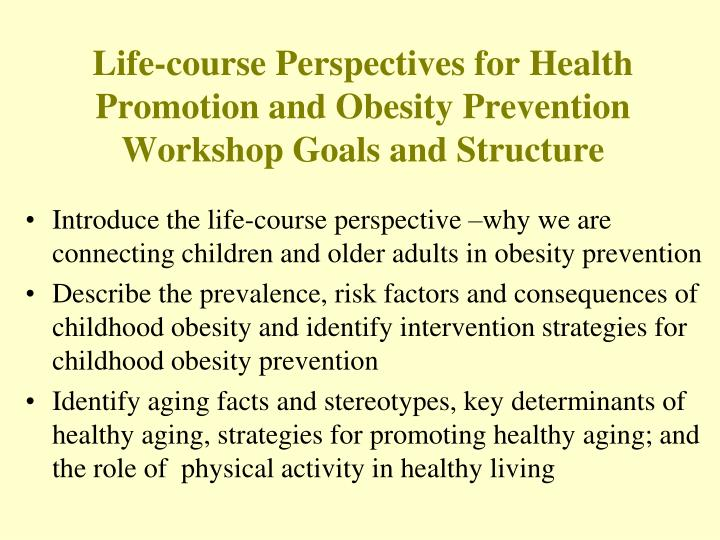 Life course perspectives for health promotion and obesity prevention workshop goals and structure