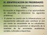 iii identificacion de prioridades