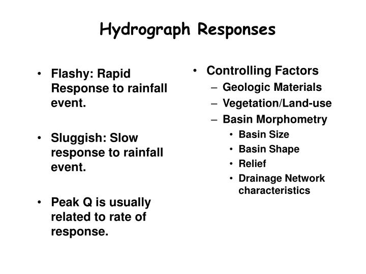 Flashy: Rapid Response to rainfall event.