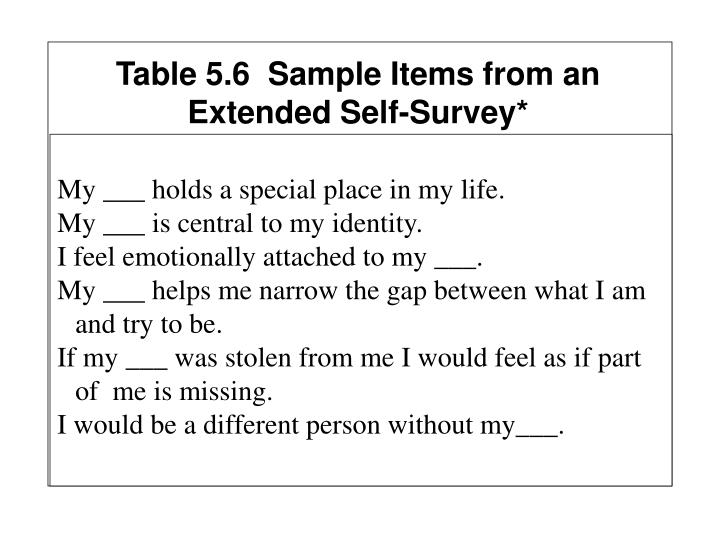 Table 5.6  Sample Items from an Extended Self-Survey*