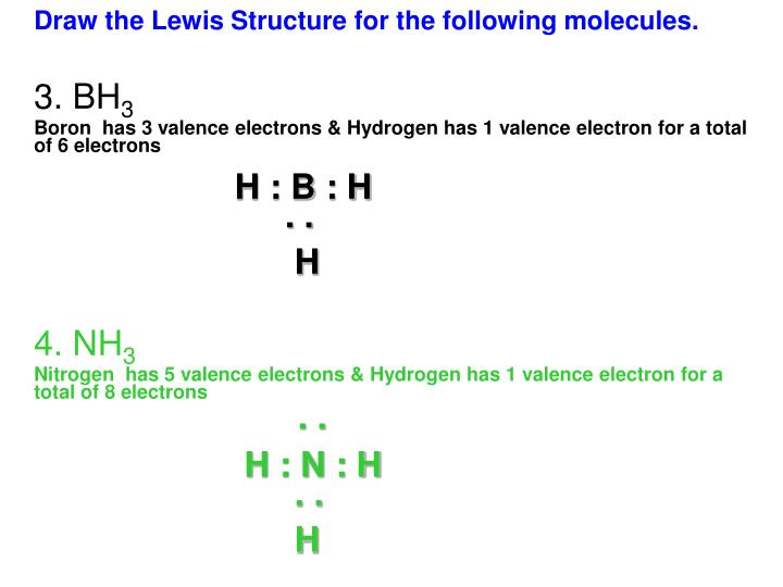 Draw the Lewis Structure for the following molecules.