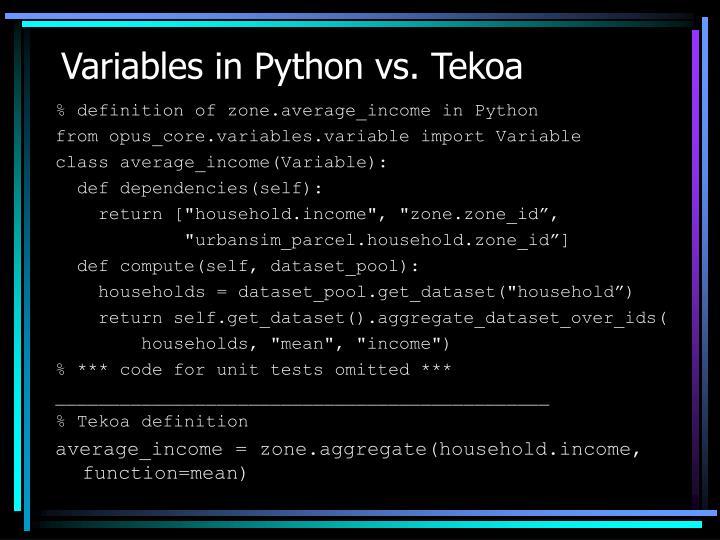 Variables in Python vs. Tekoa