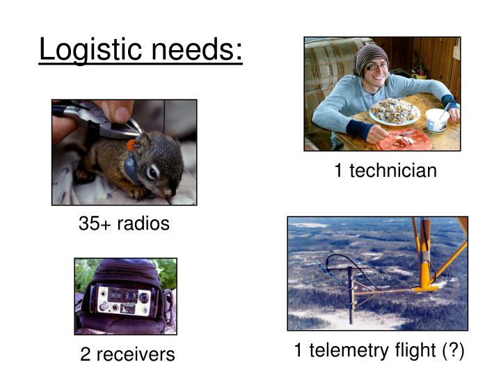 Logistic needs: