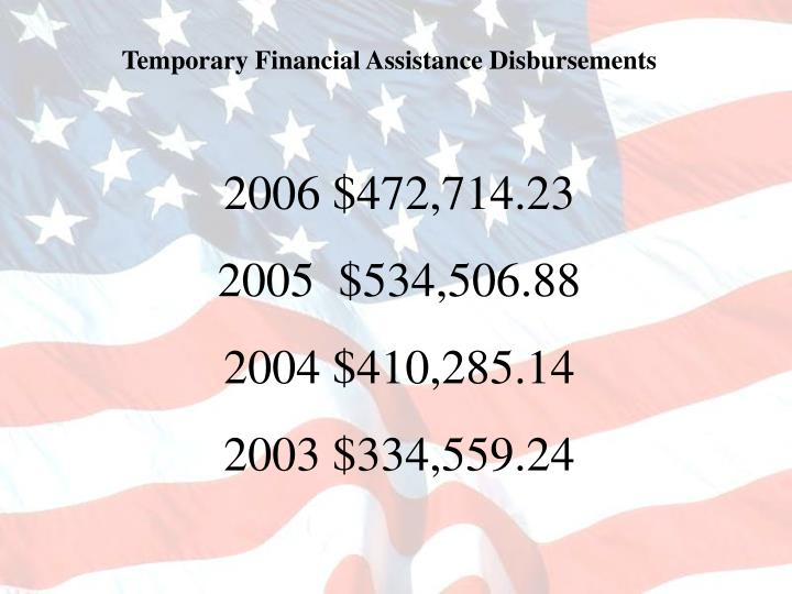 Temporary Financial Assistance Disbursements