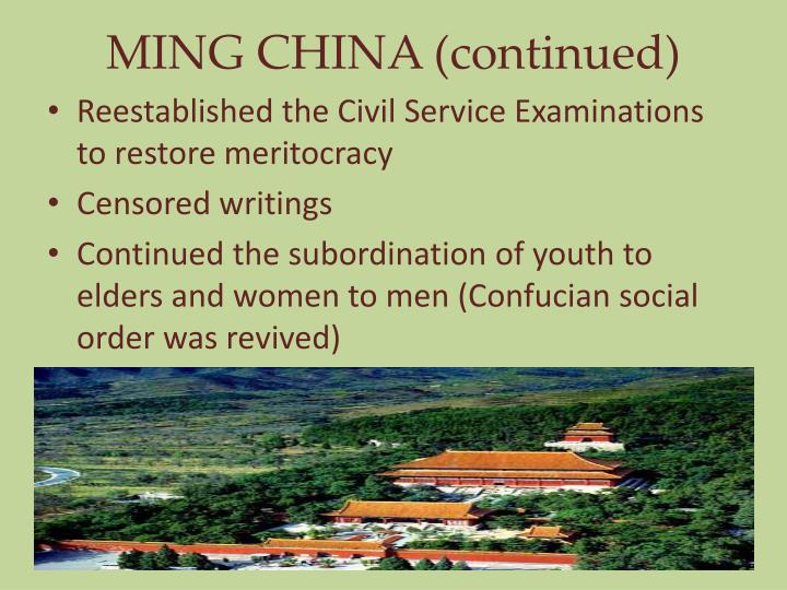MING CHINA (continued)