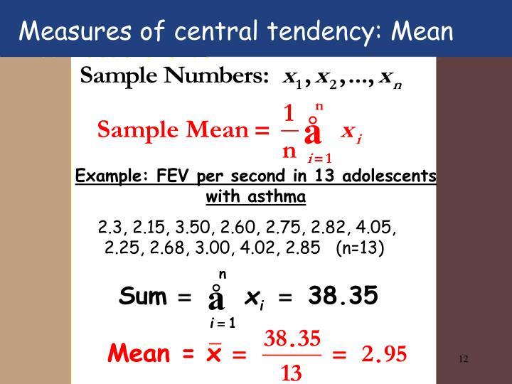 Measures of central tendency: Mean