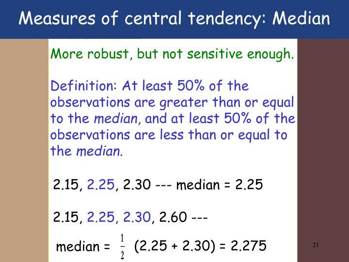 Measures of central tendency: Median
