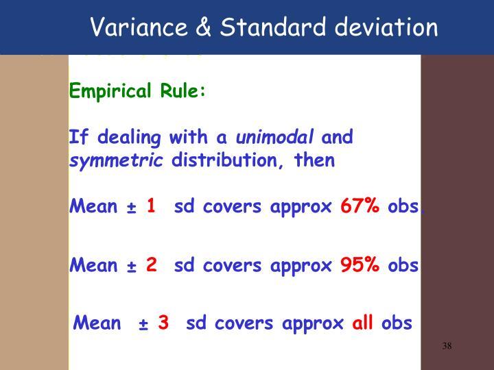 Variance & Standard deviation