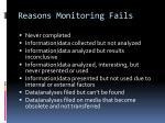 reasons monitoring fails
