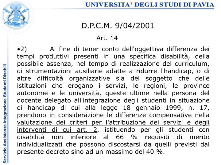 D.P.C.M. 9/04/2001