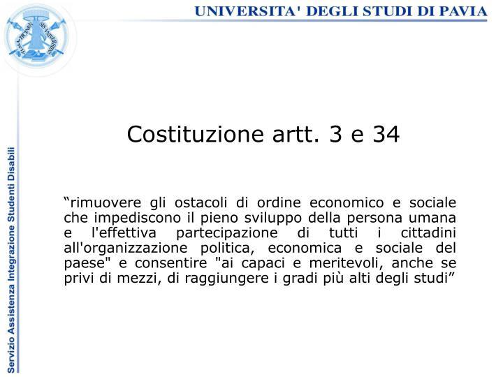 Costituzione artt. 3 e 34
