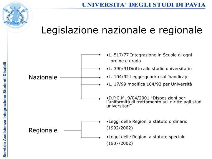 Legislazione nazionale e regionale