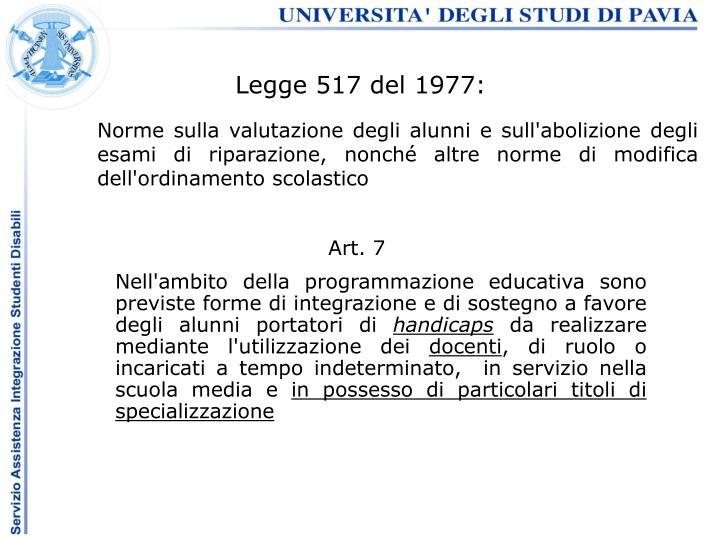 Legge 517 del 1977: